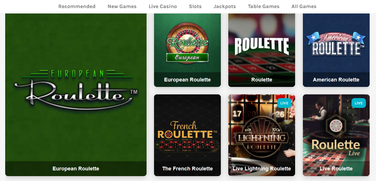 Screenshot Roulette pagina Lucky Days Casino