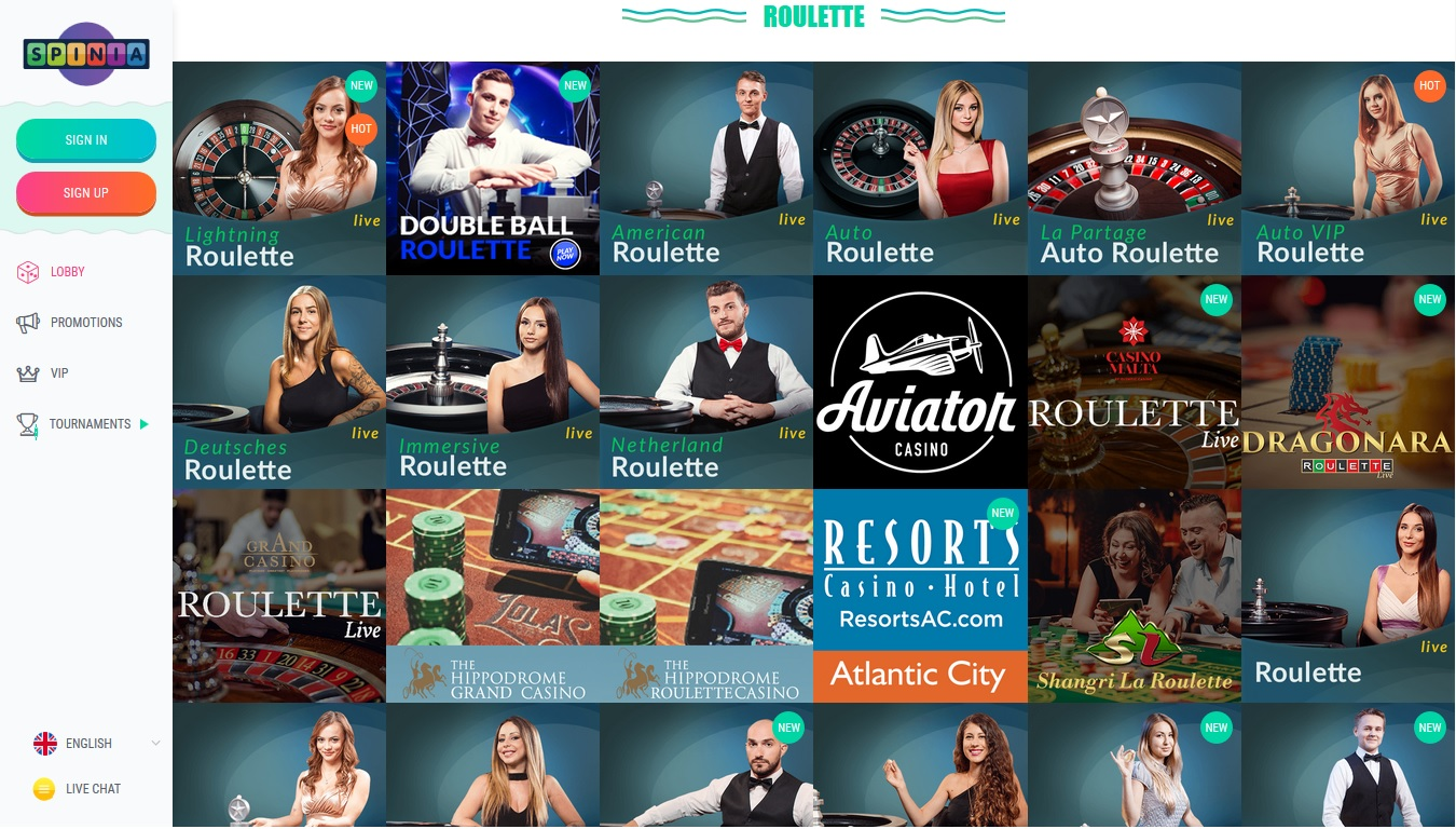 Screenshot Roulette pagina Spinia Casino